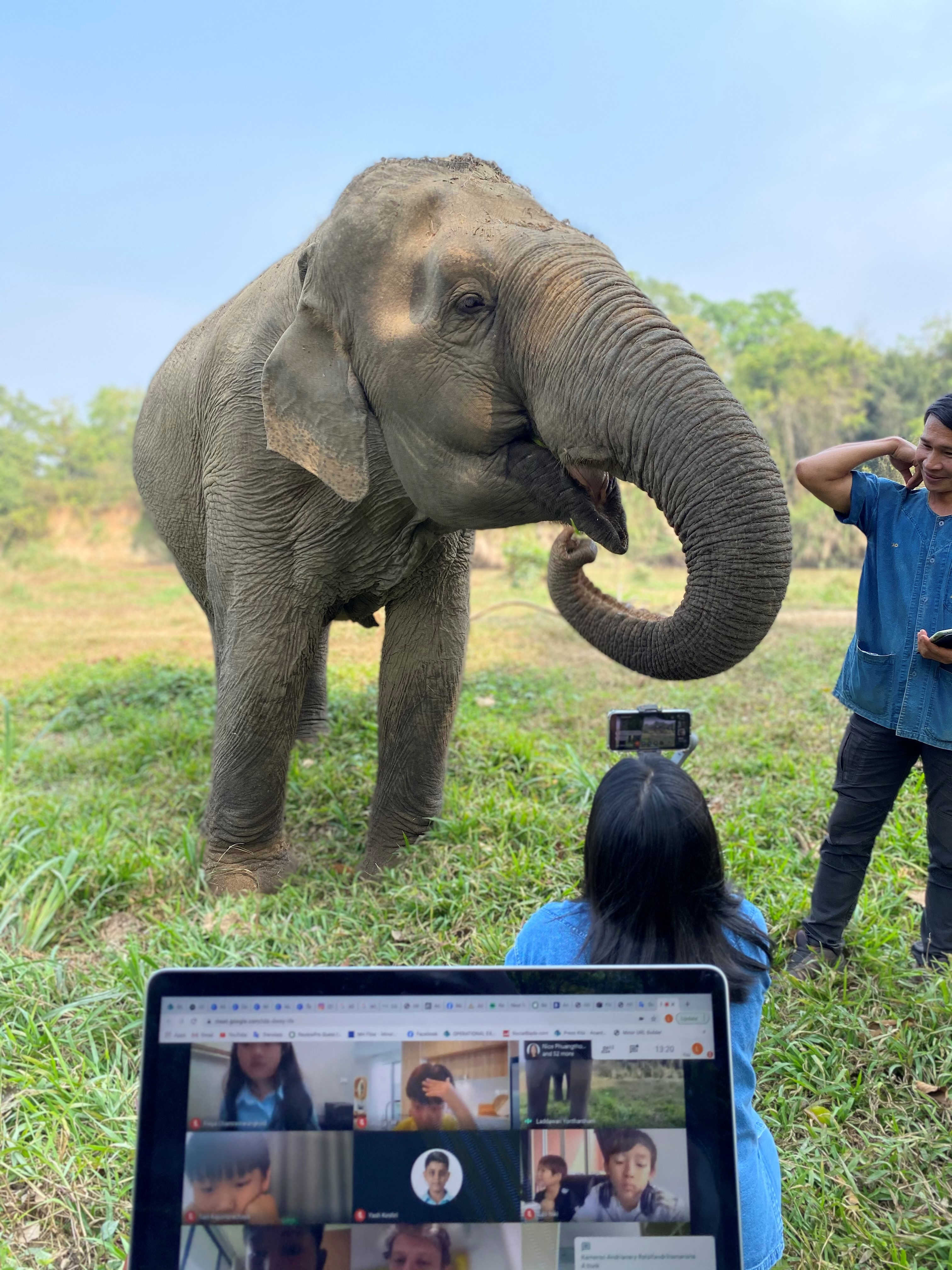 Children were delighted with the elephant's fun loving-antics Photo Credit Golden Triangle Asian Elephant Foundation