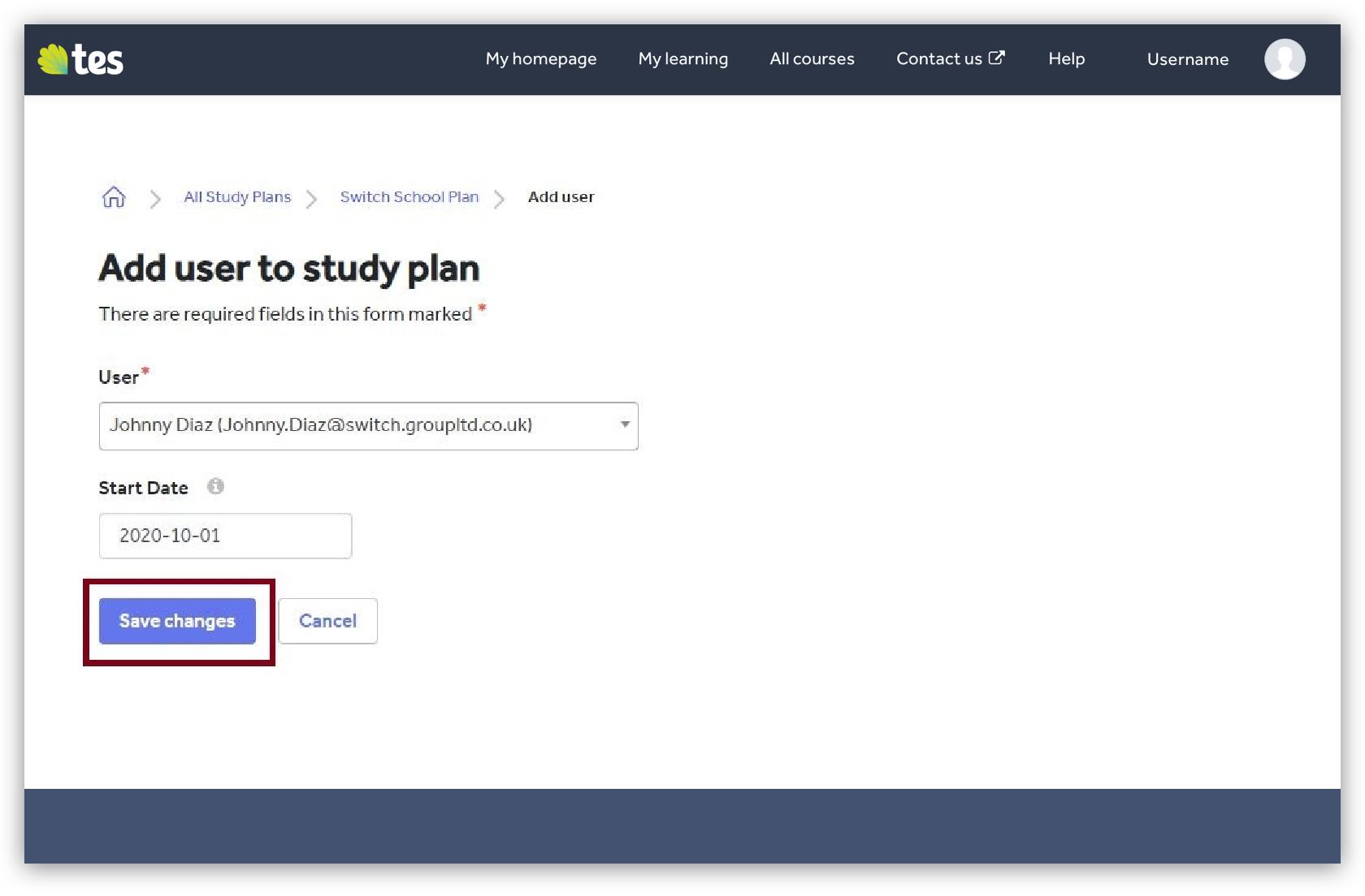 Add user to study plan image