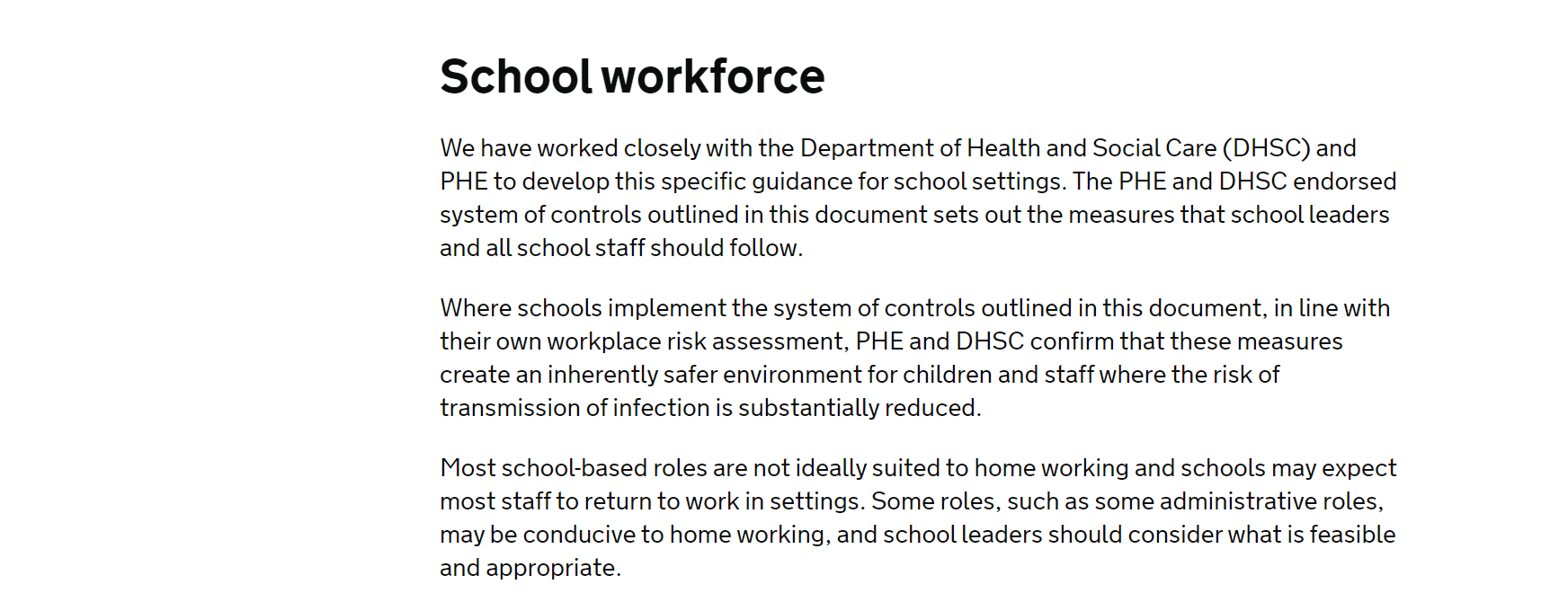 DfE guidance with detail on high risk settings removed