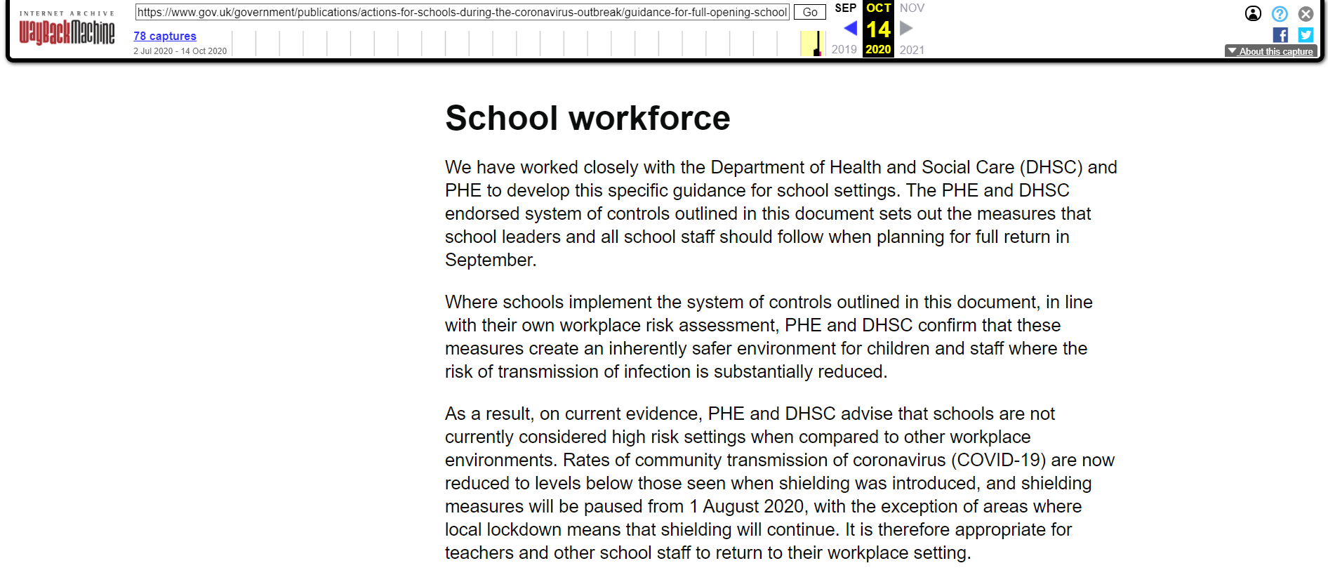 DfE guidance showing detail on high risk settings