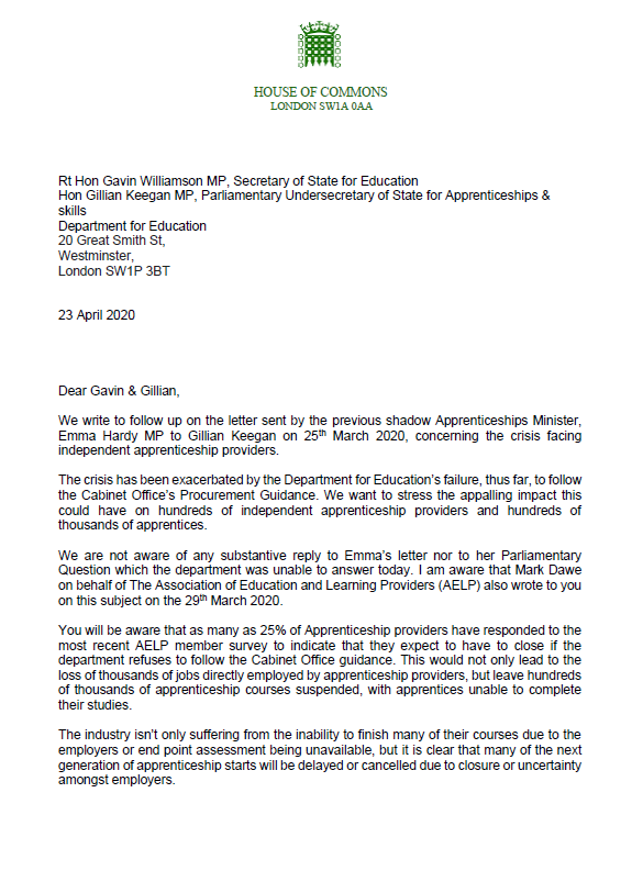 Labour's shadow education ministers have written to the government