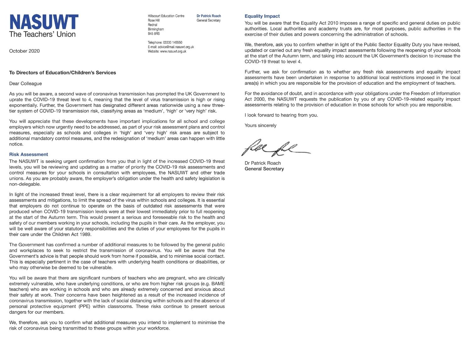 Dr Patrick Roach's letter to councils urging them to carry out new risk assessments.