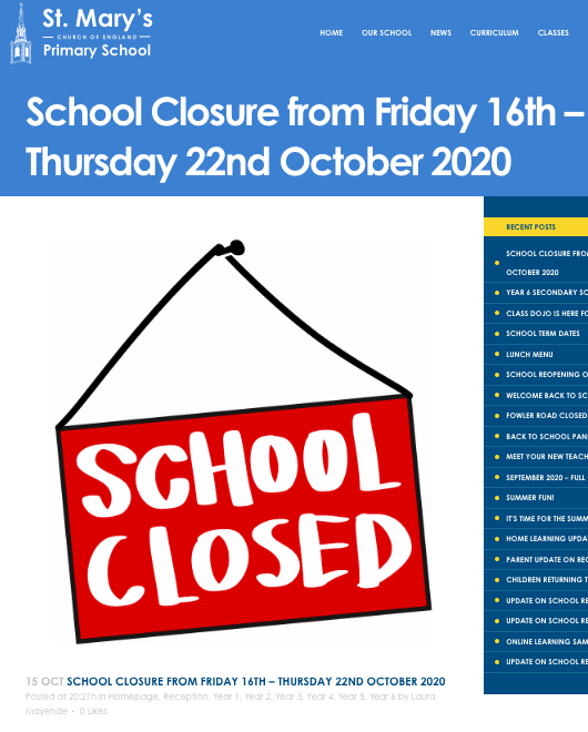 Closure notice on St Mary's school website