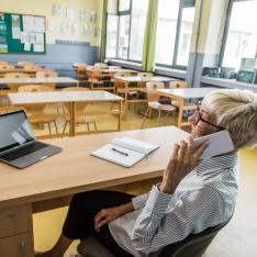 Teachers don't relax in empty classrooms at the end of term