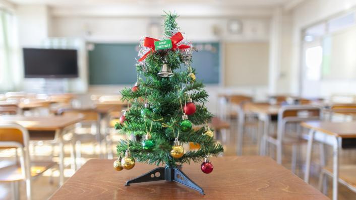 Christmas tree in classroom
