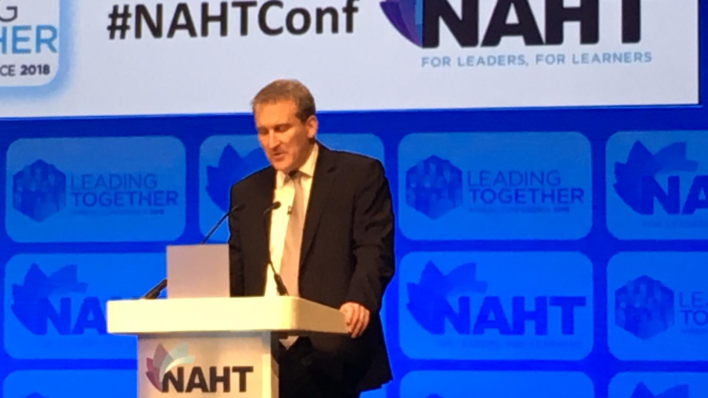 Damian Hinds at the NAHT conference