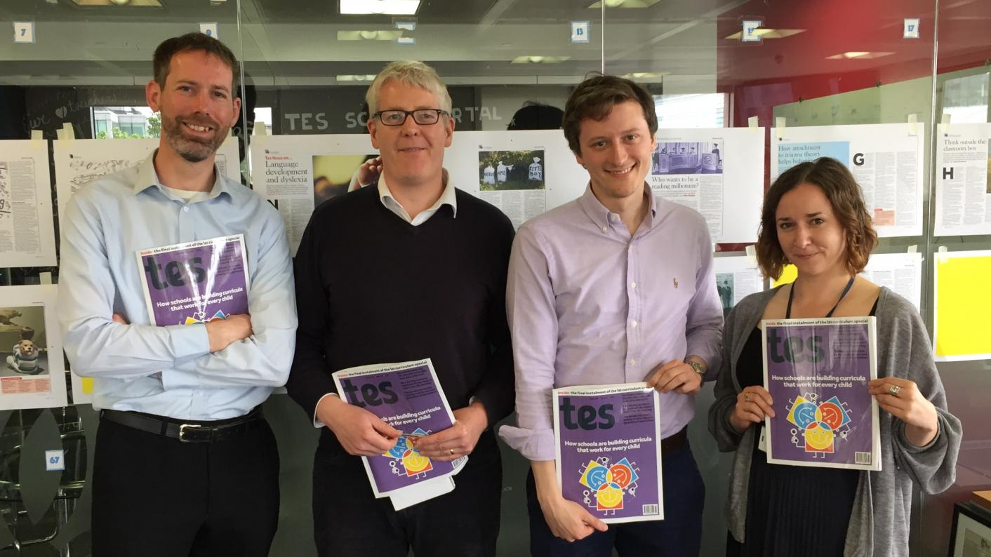 The Tes podcast: left to right, Martin George, Will Stewart, Will Hazell and Zofia Niemtus.