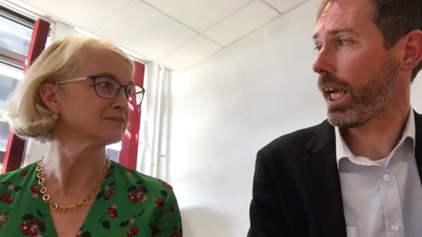 Amanda Spielman talks to Tes reporter Martin George at the International Festival of Learning at West Suffolk College.