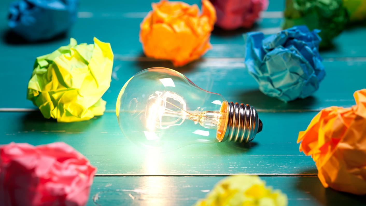 light bulb and coloured paper