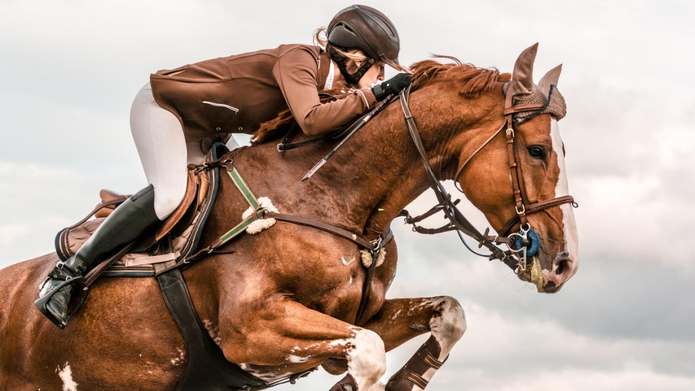 Horse and jockey, jumping over hurdle