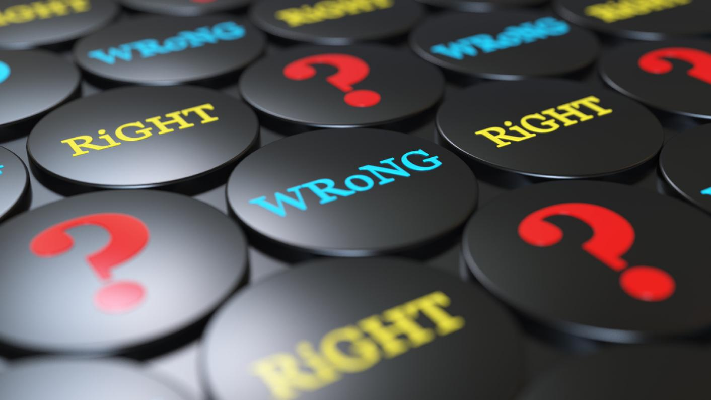 """Badges saying """"Wrong"""" and """"Right"""", and showing a question mark"""