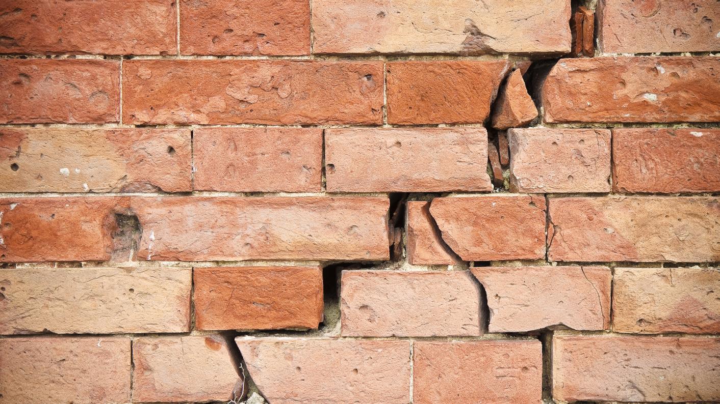 School building: Brick wall