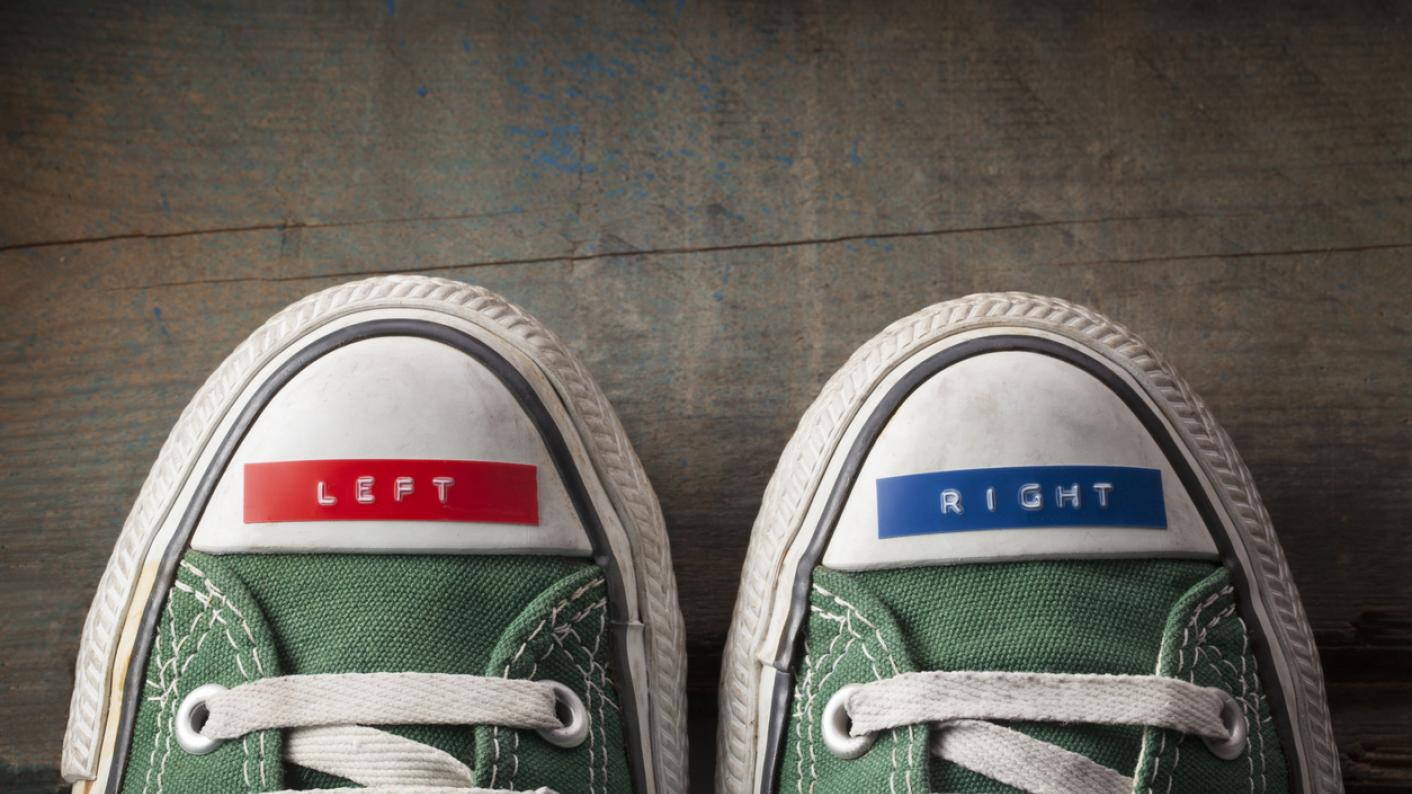"""Shoes, with labels on reading """"left"""" and """"right"""""""