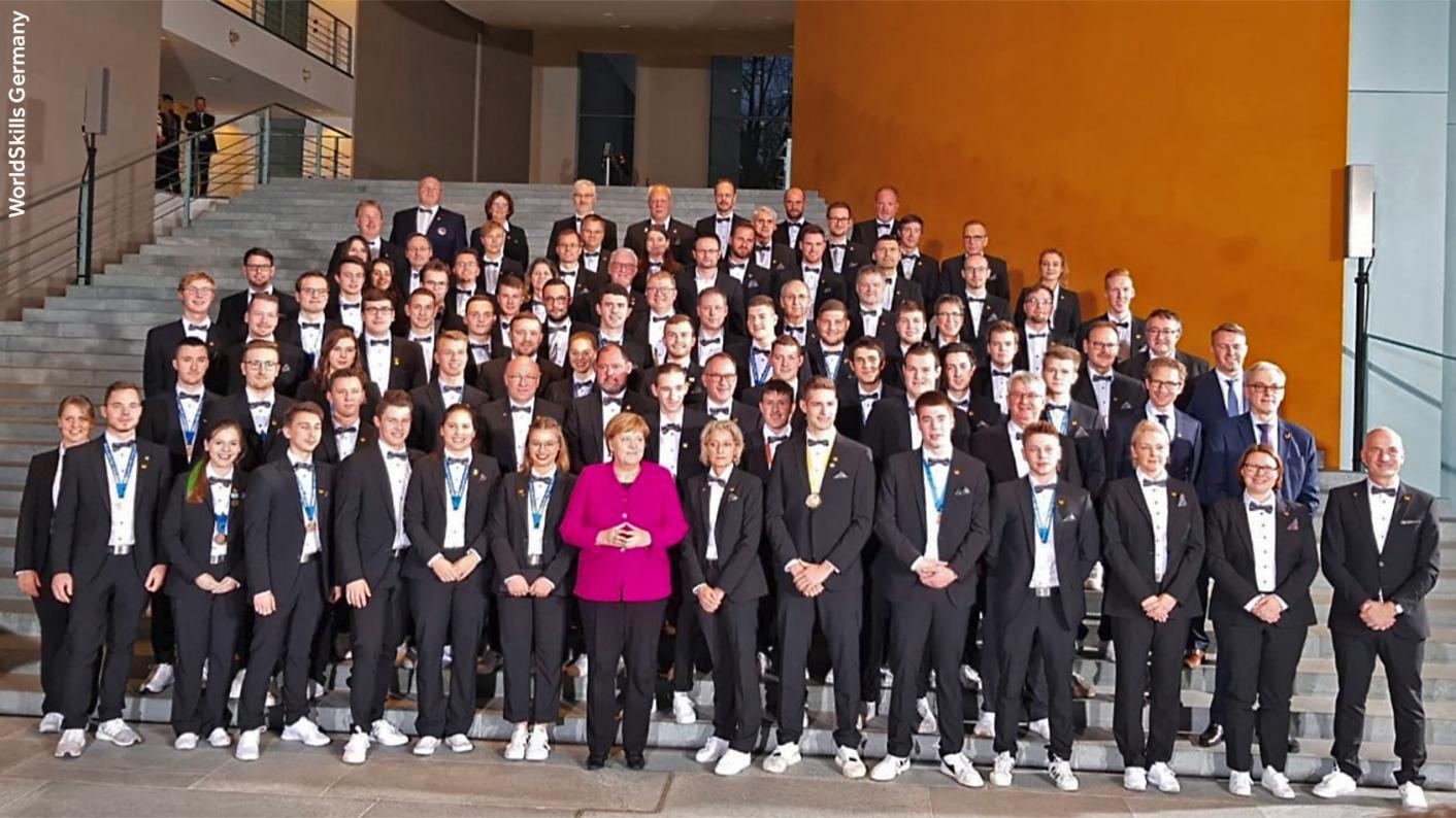 Angela Merkel met with WorldSkills Germany competitors this week - it is a world away from the experience of Team UK, says Julia Belgutay