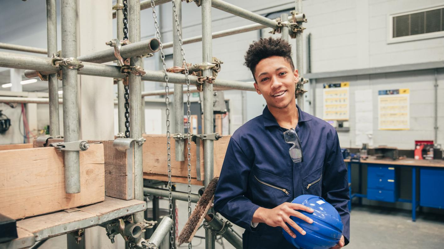 Young man on work experience
