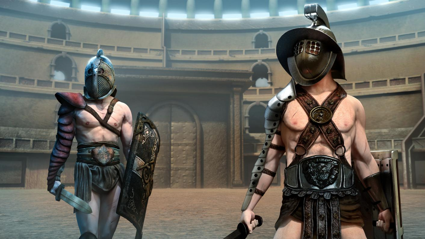 Two gladiators, in the arena