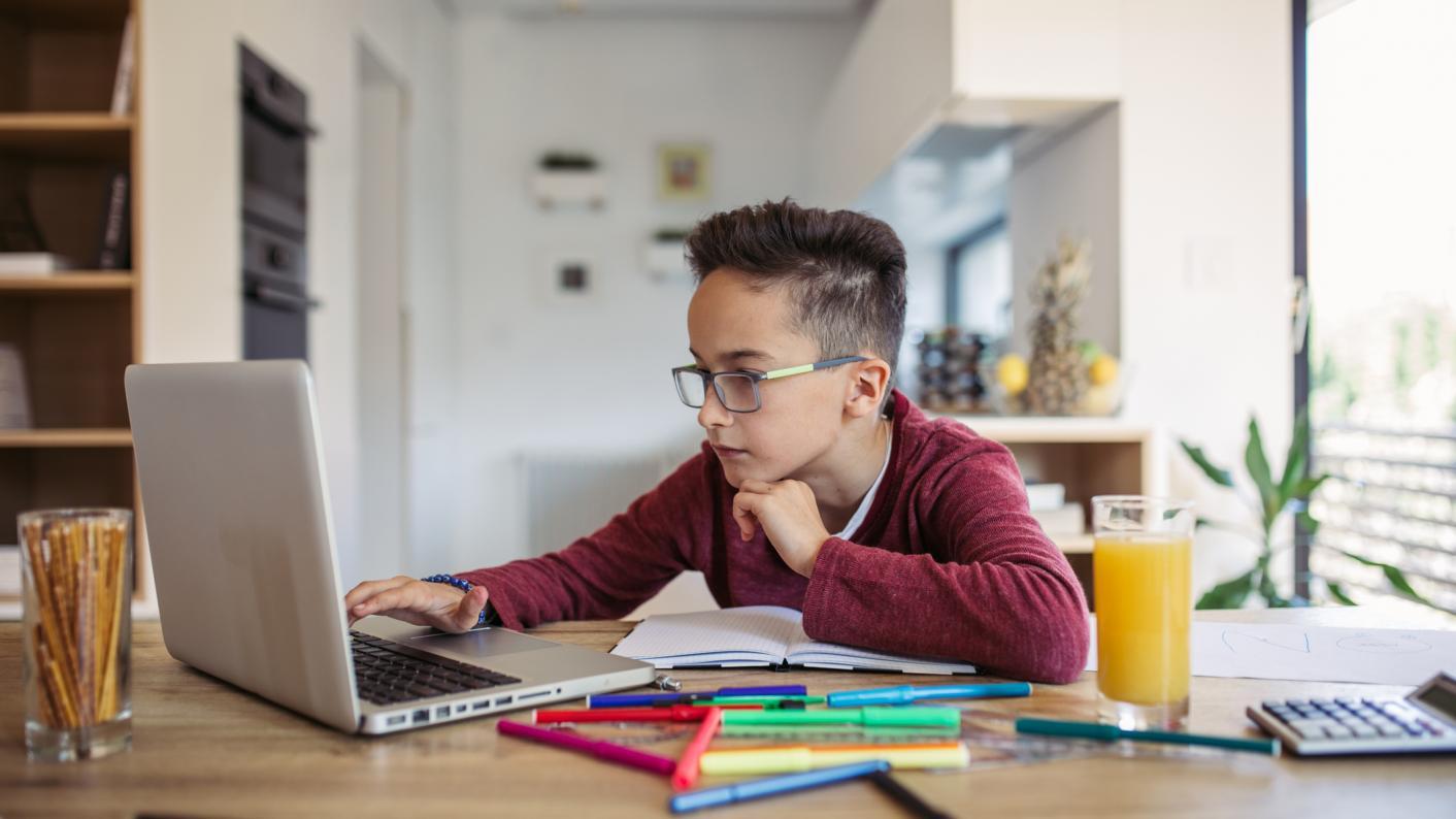 Child working remotely