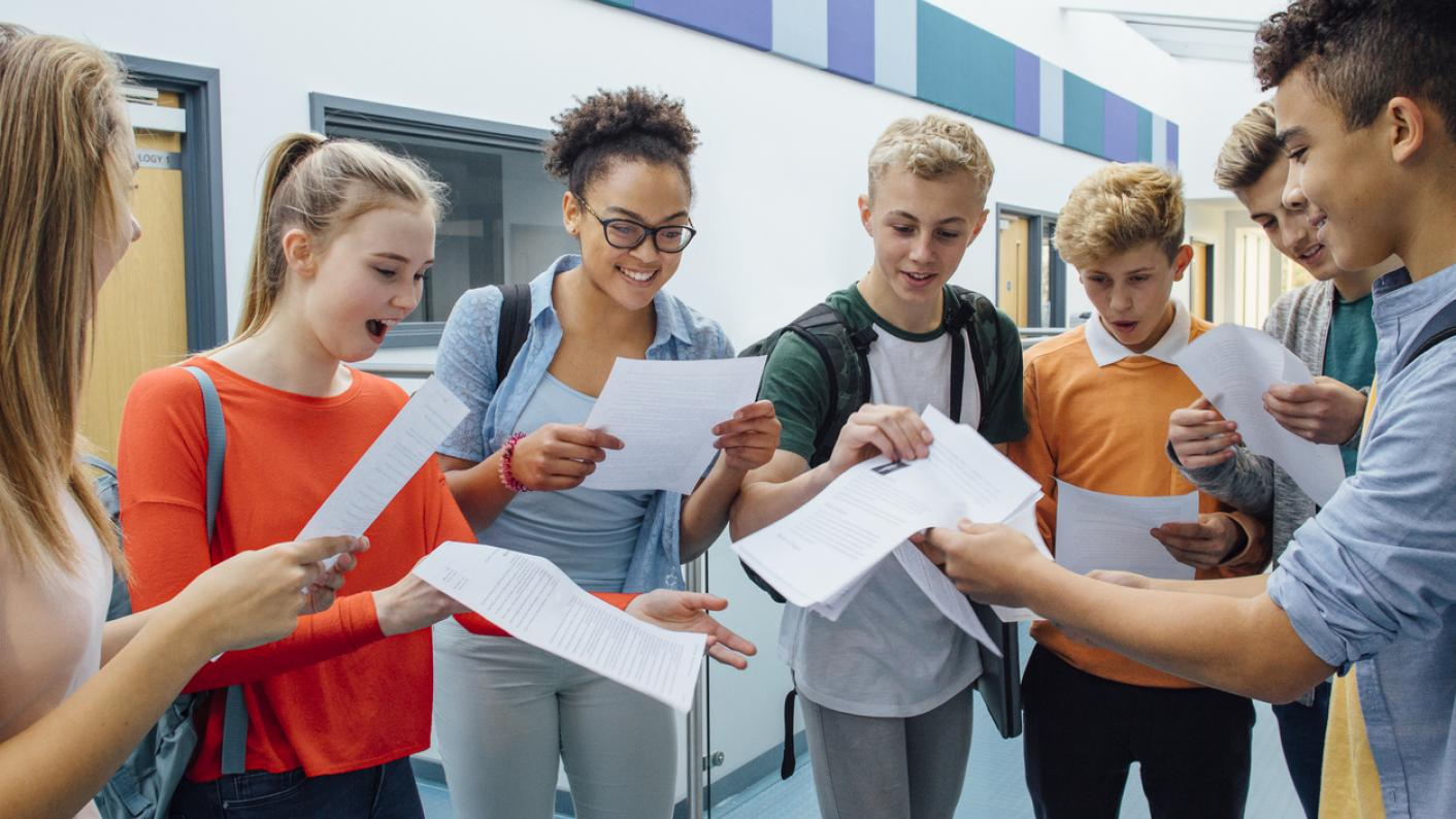 Pupils receiving results