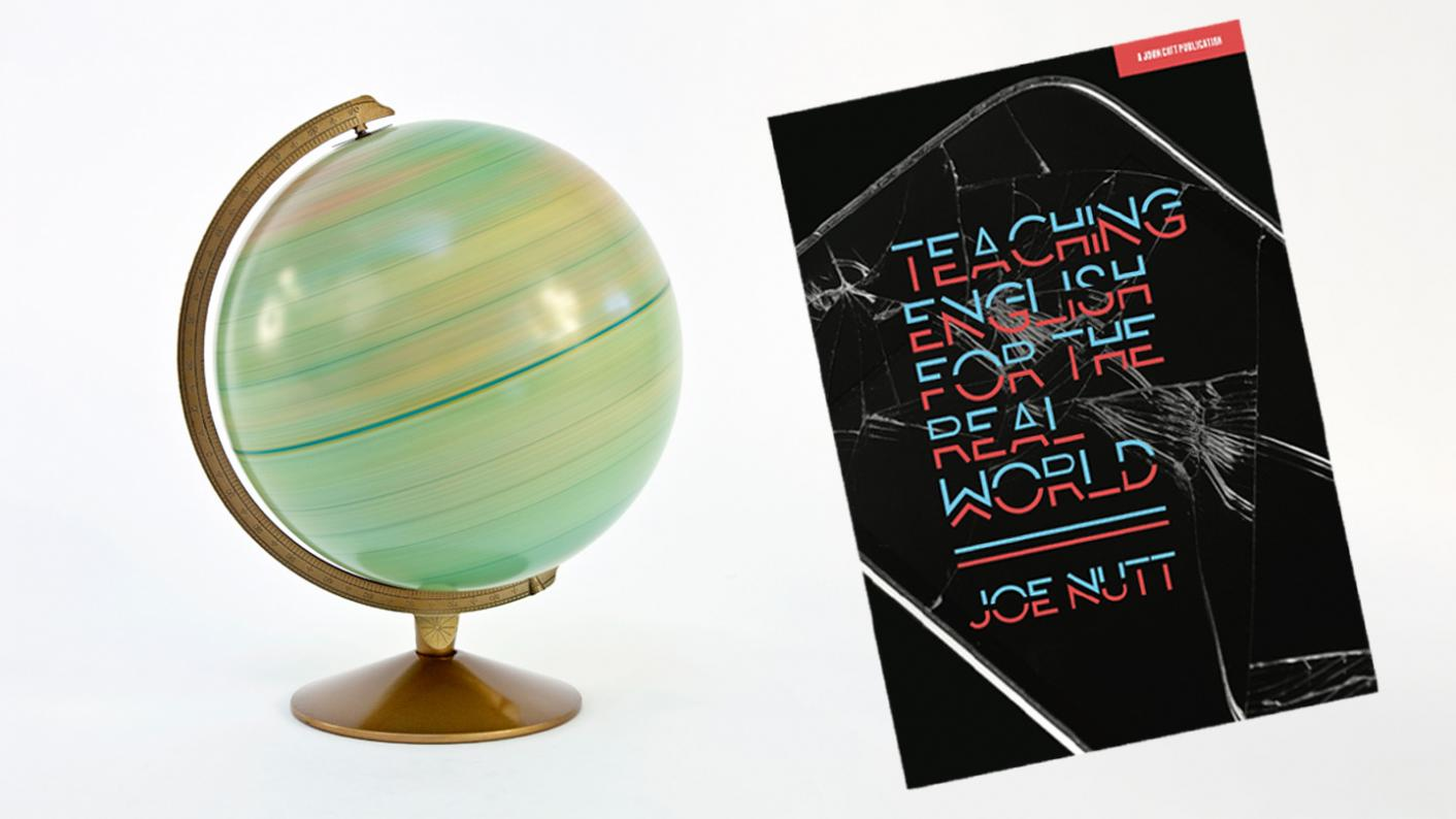 A globe next to Joe Nutt's Teaching English for the Real World