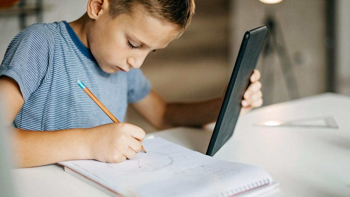 pupil working at home