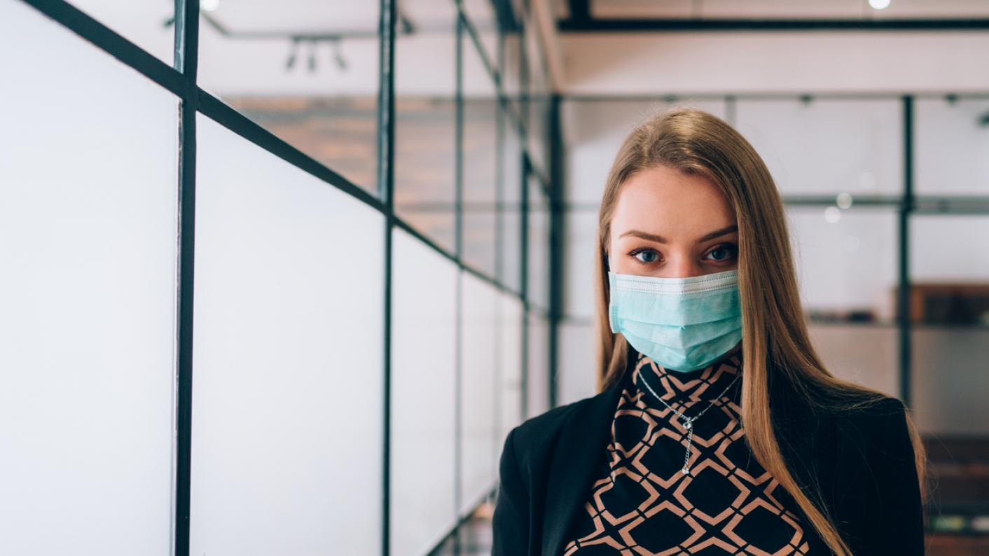 Woman wearing a face mask during Covid-19 crisis