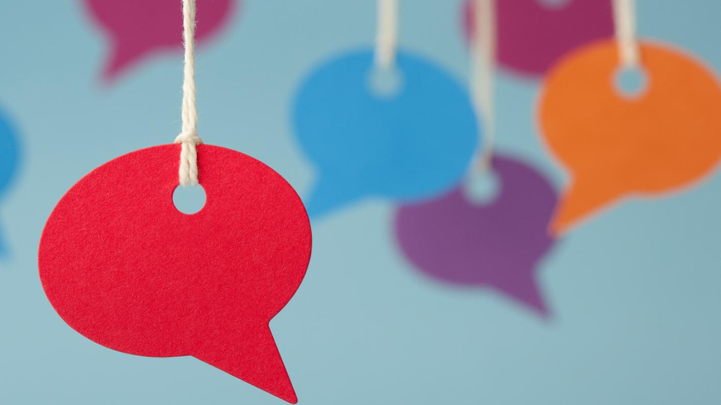 Blank speech bubbles, in different colours