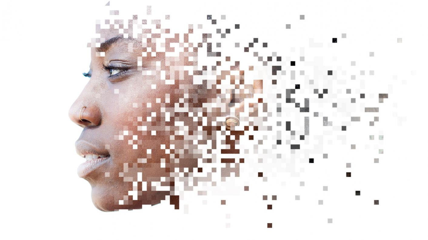 Pixellated woman's face