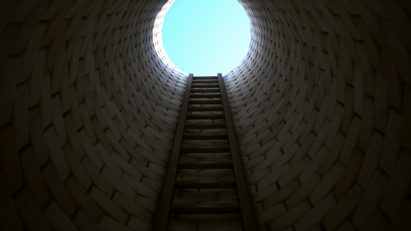 Ladder leading out of a deep hole, towards a circle of light
