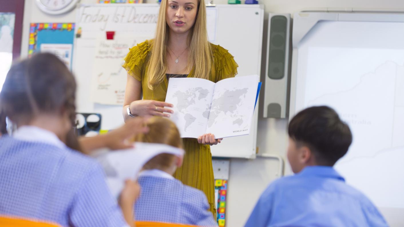 A teacher in an IB classroom