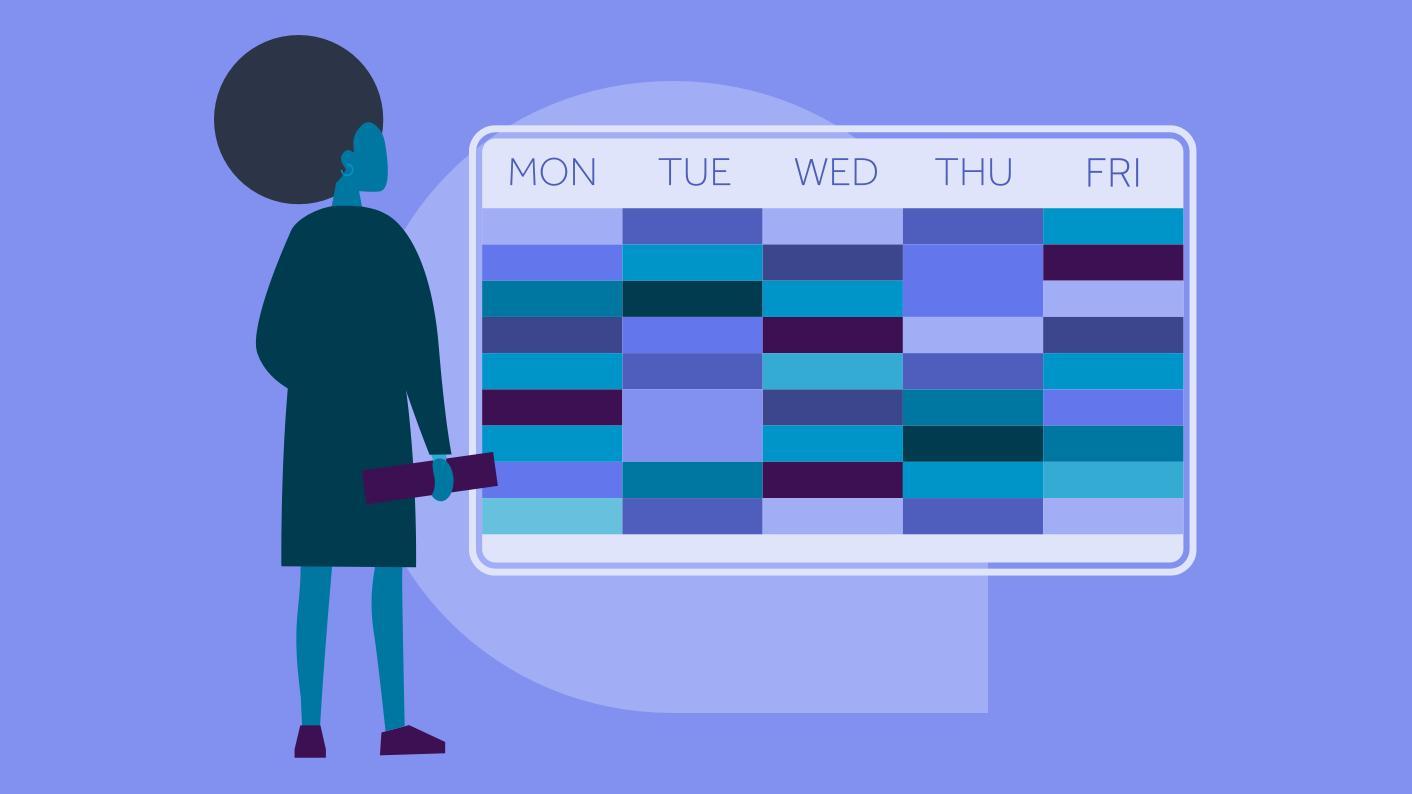 Teacher with timetable