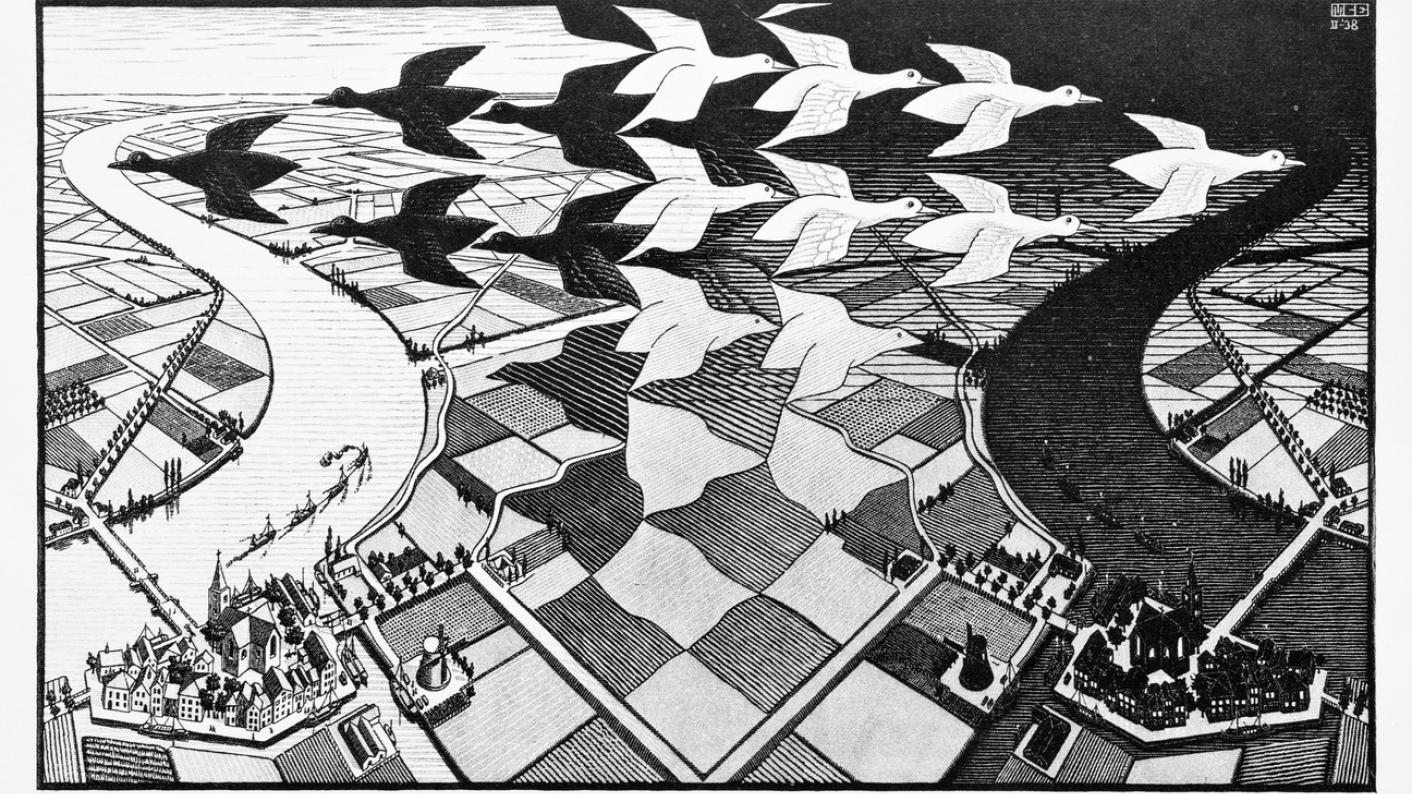 MC Escher drawing, with black and white birds flying