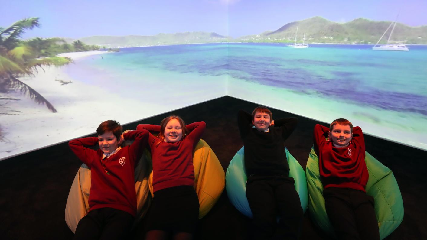 Virtual reality: 5G immersive classroom takes pupils under water and into space (Copyright holder: PA WIRE Copyright notice: PA Wire/PA Images Picture by: Andrew Milligan)