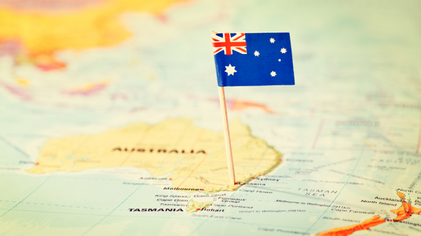 Map with Australian Flag marking Sydney, top Australia Day resources